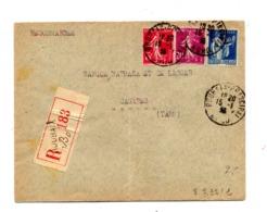 Lettre Recommandée Roubaix Sur Semeuse Paix - Postmark Collection (Covers)