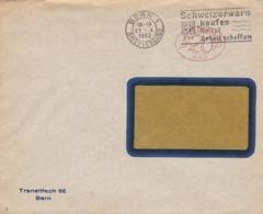 Brief ( Helvetia P20P 443)  Von  Bern, Transitfach 66. 1932. Werbestempel: Schweizerware Kaufen Heisst Arbeit Schaffen - Affranchissements Mécaniques