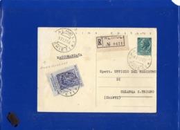 ##(DAN199)-Italia 1958 -Cartolina Postale L.20 Raccomandata Da Palmoli (Chieti) Per Celenza Sul Trigno (Chieti) - 6. 1946-.. Repubblica