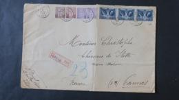Belgique Lette Grand Format En Recommandé 1927 De Liège Pour Cannes France  ( Enveloppe Pliée ) - Belgium