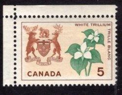 839284441 1964 SCOTT 418 POSTFRIS MINT NEVER HINGED EINWANDFREI (XX) WHITE TRILLIUM AND ARMS OF ONTARIO - 1952-.... Elizabeth II