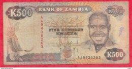 Zambie 500 Kwacha 1991 (Sign 9) Dans L 'état N °70 - Zambia