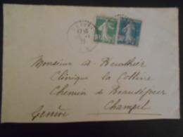 France Semeuse Camee , Lettre De Chevry 1926 Pour Champel - 1906-38 Semeuse Camée