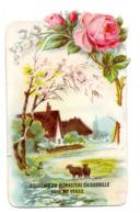 Chromo Découpi Chocolat Aiguebelle Gaufré Panorama Campagnard Champêtre Mouton Animal Maison Village Rose Fleur - Aiguebelle