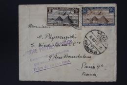 France Airmail Cover Service Postal Francais Retardé Par Accident D' Avion Crashmail  Heliopolis Egypt - Paris 1937 - 1927-1959 Storia Postale