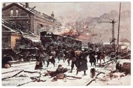 MILITARIA - 1914 - CARTE ILLUSTRATEUR - COMBAT DANS LA GARE DE VERMELLES (62) - Guerre 1914-18