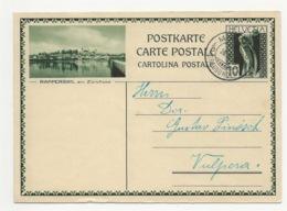 """Schweiz Suisse 1931: Bild-PK CPI """"RAPPERSWIL Am Zürichsee"""" O MANAS 26.I.31 (GRAUBÜNDEN) Nach Vulpera (Text In Romanisch) - Entiers Postaux"""