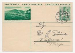 """Schweiz Suisse 1934: Bild-PK CPI """"FLEURIER. A VOL D'OISEAU"""" Mit Stempel SCHULS 30.I.34 Nach Vulpera (Text In Romanisch) - Entiers Postaux"""