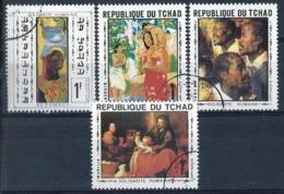TCHAD - 1969 - N°... Oblitérés - SOLIDARITE HUMAINE - 4 TABLEAUX Différents - Tsjaad (1960-...)