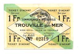 1920 // TROUVILLE-sur-MER // SYNDICAT GENERAL // Ticket D'Achat De Un Franc - Bonos
