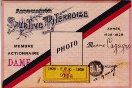 BEZIERS / RUGBY / JOLIE CARTE DE MEMBRE ACTIONNAIRE 1928.1929 / ASSOCIATION SPORTIVE BITEROISE - Rugby