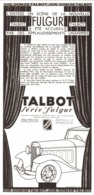 "PUB  VEHICULES  "" TALBOT ""  FULGUR  1933 ( 1 ) - Other"
