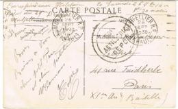 CPA EN FRANCHISE MILITAIRE TAMPON 50E ARTILLERIE DEPOT GARCIA MONTPELLIER - Marcophilie (Lettres)