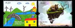 Portugal 3568/69 Dessins D'enfants , énergies Renouvelables , écologie , Rhinocéros - Environment & Climate Protection