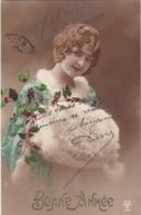 """MILITARIA. CARTE FANTAISIE. FEMME.  GUERRE 1914- 18. . """" BONNE ANNÉE """" 1916 - Weltkrieg 1914-18"""