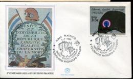 47334 Italia, Fdc 1989  Second Centenary Of The French Revolution, The Bastille - Franz. Revolution