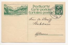 """Schweiz Suisse 1924: Bild-PK CPI """"LOECHE-les-BAINS / LEUKERBAD"""" Mit Stempel SCHWANDEN (GL) 6.IX.24 Nach Glarus - Interi Postali"""