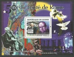 GUINEA 2007 CHURCHILL ADENAUER BIRDS DOVES TREATY OF ROME M/SHEET MNH - Guinea (1958-...)