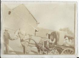 Rare Photo Ancienne - Vers 1900 - Dizocourt Jaux - Oise 60 - Voiture De Mr Campion - Attelage Cheval - Lieux