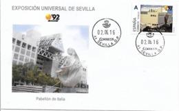 SPAIN. COVER EXPO'92 SEVILLA. ITALY PAVILION - 1931-Hoy: 2ª República - ... Juan Carlos I