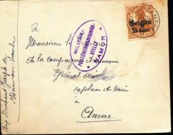 BELGIUM  WW1 COVER FROM HAM SUR SAMBRE TO ANTWERPEN - WW I