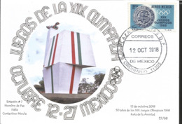 J) 2018 MEXICO, MAN OF PEACE, ITALY, CONSTANTINO NIVOLA, 50 YEARS OF THE XIX OLYMPIC GAMES OF 1968, ROUTE OF FRIENDSHIP, - Mexico