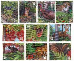 Etats-Unis / United States (Scott No.3899a-j - Northwest Decidious Forest) (o) Série / Set - Oblitérés