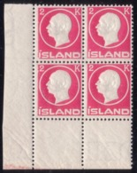 ICELAND 1912 Frederik VIII MNH 4-block Facit 119 / 119v + Some Minor Varieties - Neufs