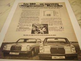 ANCIENNE PUBLICITE LES 280  MERCEDES BENZ  1972 - Voitures