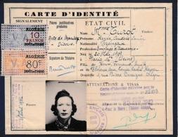 30 Avril 1942 - ALGER - CARTE D'IDENTITÉ  Délivrée Par La Mairie D'ALGER - 2 Timbres Fiscaux - - Documentos Históricos
