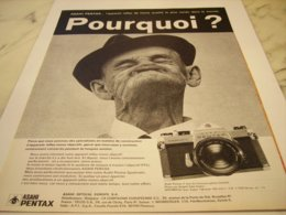 ANCIENNE PUBLICITE APPAREIL PHOTO  ASAHI PENTAX POURQUOI 1971 - Otros