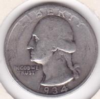 Etats-Unis , Quarter Dollar 1934, Washington , En Argent - Emissioni Federali