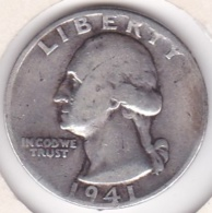 Etats-Unis , Quarter Dollar 1941 D  DENVER, Washington , En Argent - Federal Issues