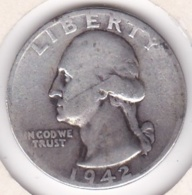 Etats-Unis , Quarter Dollar 1942, Washington , En Argent - Federal Issues
