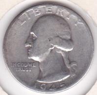 Etats-Unis , Quarter Dollar 1945, Washington , En Argent - Emissioni Federali