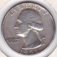 Etats-Unis , Quarter Dollar 1958 D  DENVER , Washington , En Argent - Federal Issues