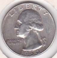 Etats-Unis , Quarter Dollar 1960 D  DENVER , Washington , En Argent - Federal Issues