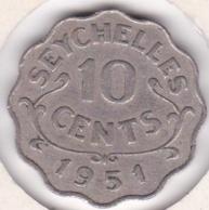 Seychelles 10 Cents 1951 . George VI. KM# 8 - Seychelles