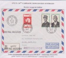TAAF - Lettre Recommandée Saint Paul Et Amsterdam - P39-46/47 - Traité - De Gaulle - 10-2-72 - French Southern And Antarctic Territories (TAAF)