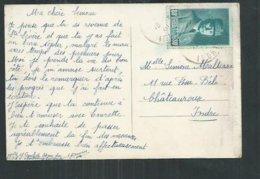 France ; 80cts Pétain Sur Carte Postale De Levroux (Indre) - Marcophilie (Lettres)