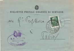 BIGLIETTO POSTALE DI SERVIZIO 1934 25 C. TIMBRO CERTOSA IN PAVIA (IX860 - 1900-44 Victor Emmanuel III
