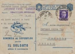 CARTOLINA FRANCHIGIA 1943 +50 PM  -PM45 -RINUNZIA AL SUPERFLUO (IX844 - Franchise