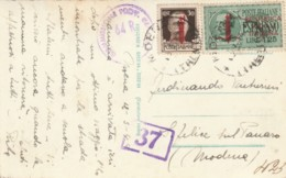 CARTOLINA RSI 1944 CON 30+1,25 ESPRESSO SS TIMBRO MODENA (IX714 - 4. 1944-45 Repubblica Sociale