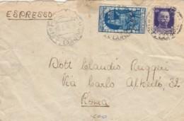 ESPRESSO 1934 50+1,25 DECENNALE FIUME -NON PERFETTO-TIMBRO AMBULANTE TRIESTE ROMA (IX841 - Marcophilia