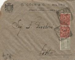 LETTERA 1892 1+2X2 CENT. TIMBRTO MILANO (IX831 - 1878-00 Umberto I