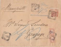 LETTERA 1908 C.20 CON BORDO +2X20 SEGNATASSE TIMBRO GONZAGA VILLA POMA (IX752 - 1900-44 Vittorio Emanuele III
