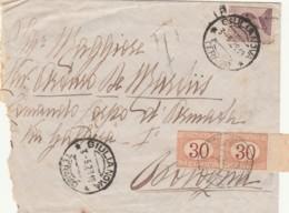 LETTERA 1929 20 C.+2X30 CON BORDO FOGLIO SEGNATASSE TIMBRO GIULIANOVA-CERA LACCA (IX818 - Storia Postale