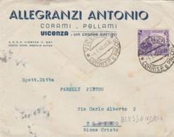 LETTERA 1940 50 C. CENT.FERROVIE TIMBRO VICENZA-CRISTO-ALESSANDRIA (IX721 - 1900-44 Vittorio Emanuele III