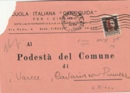 LETTERA 1944 RSI 492I 30 C. TIMBRO FIRENZE (IX676 - 4. 1944-45 Repubblica Sociale