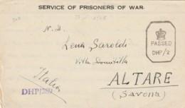 LETTERA SERVIZIO PRIGIONIERI DI GUERRA 1946 DA INDIA TIMBRO ALTARE SAVONA (IX744 - Marcophilia